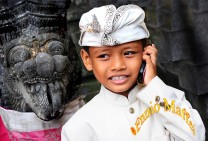 Bali Hindu Kid On The Phone