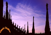 Milan Duomo Cathedral Spikes At Dusk